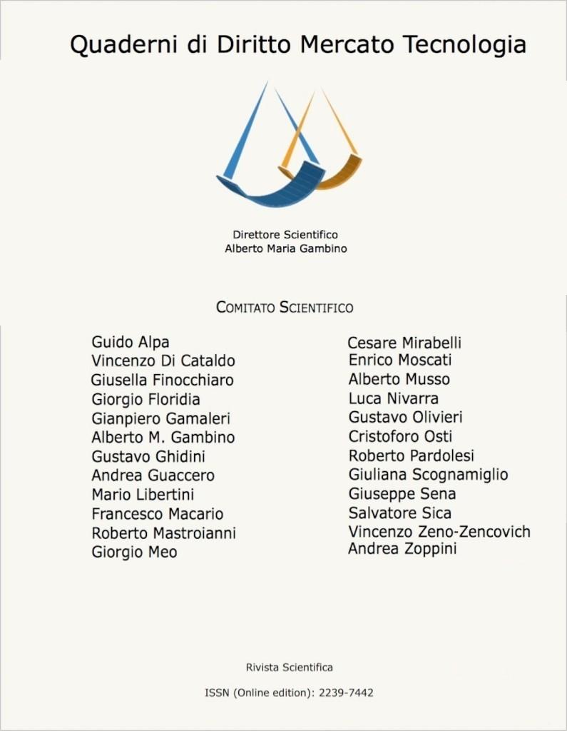 Copertina Quaderni Diritto Mercato Tecnologia