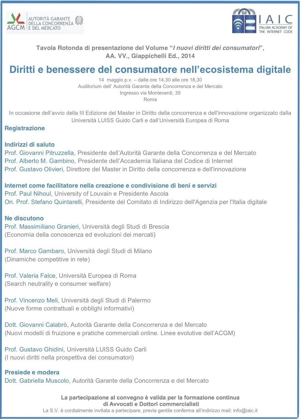 Locandina Diritti e benessere del consumatore nell'ecosistema digitale - Roma, 14 maggio 2015