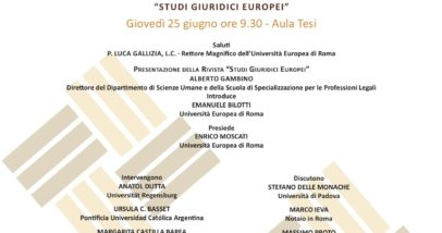 Univ. Europea - 25 Giugno Ore 9.30