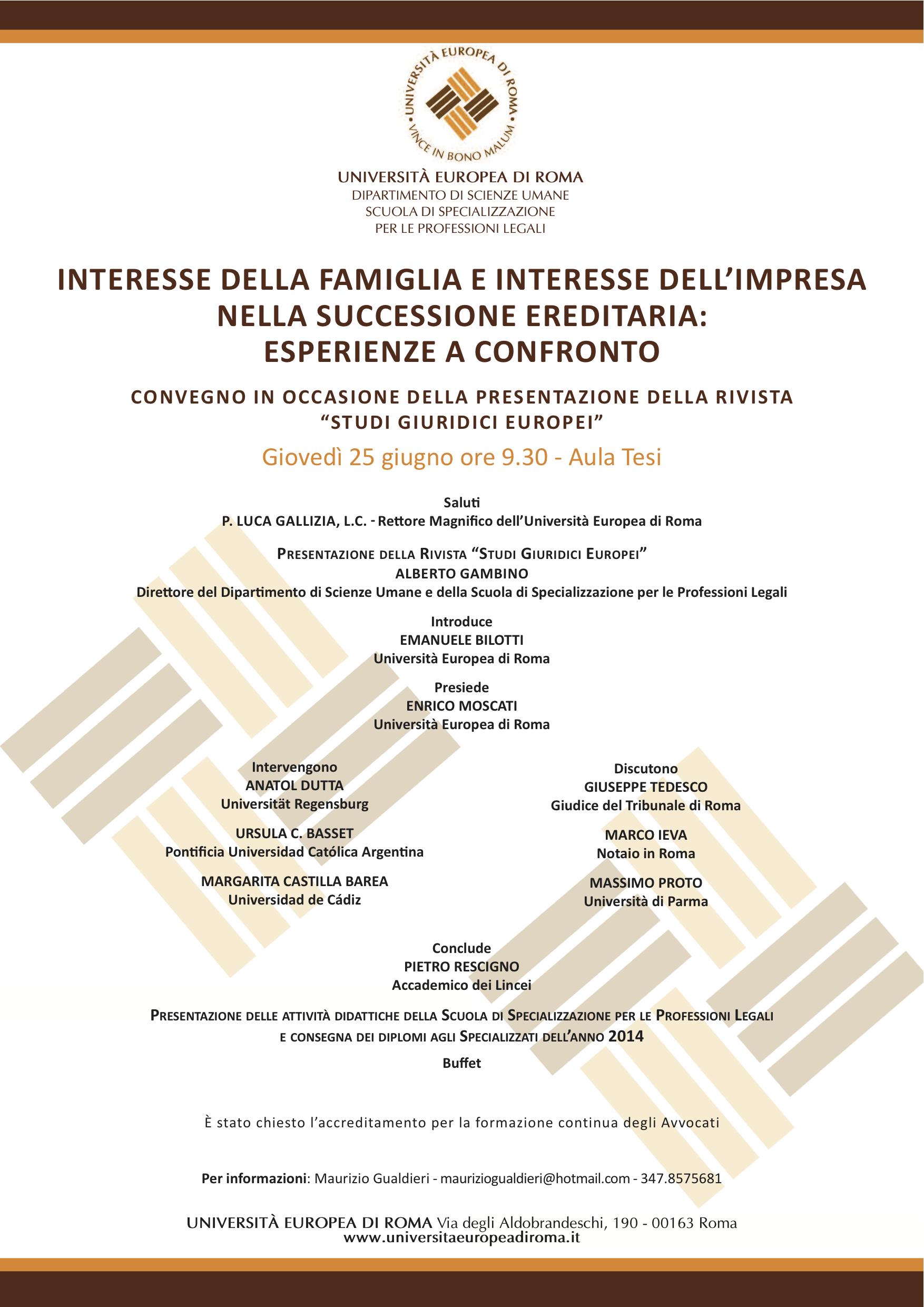 Univ. Europea di Roma - Convegno 25 giugno ore 9.30