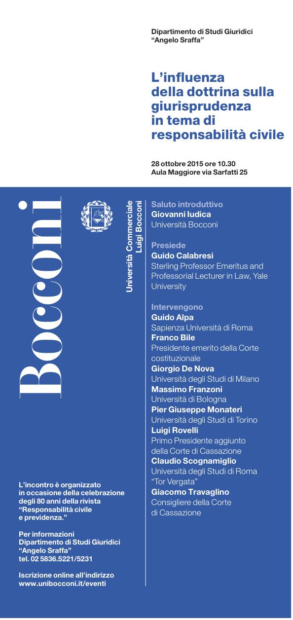 L'influenza della dottrina sulla giurisprudenza in tema di responsabilità civile - Milano, 28 ottobre 2015