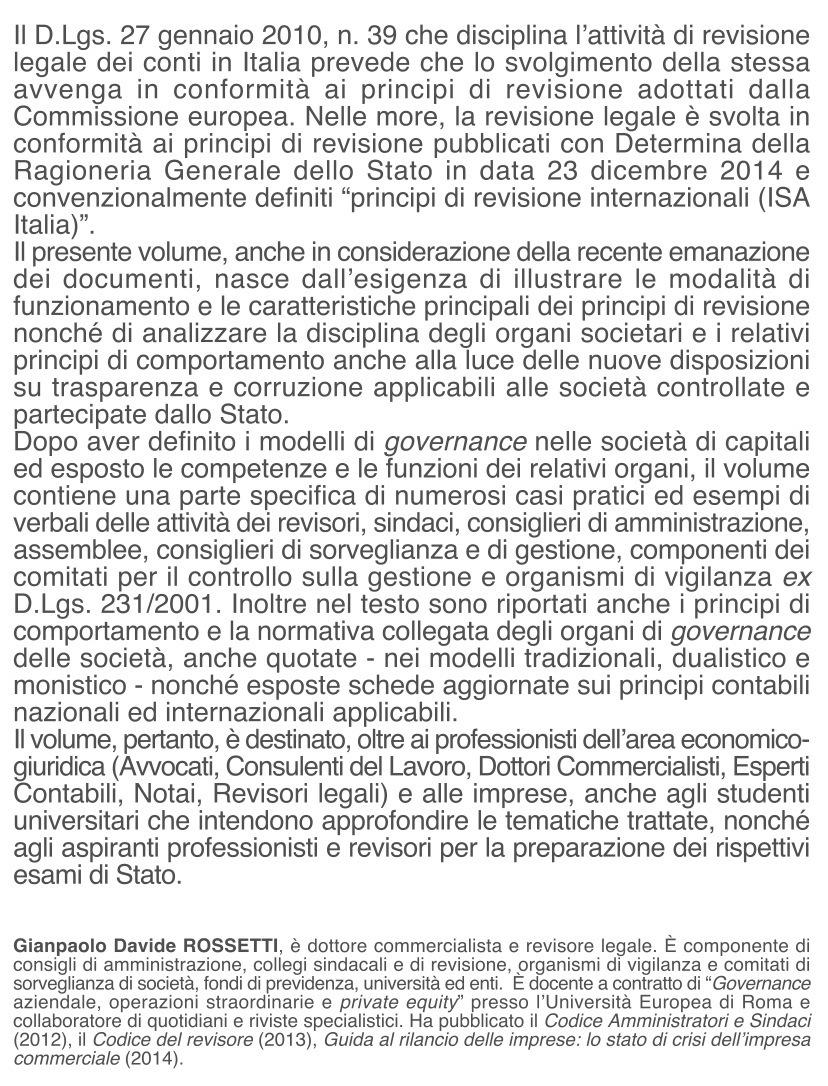 copertina Governo societario e revisione dei conti in Italia