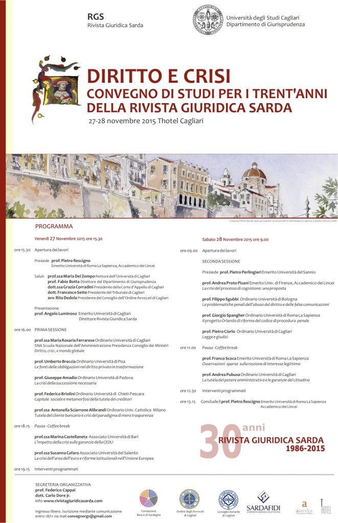 Convegno Rivista giuridica Sarda 27-28 novembre