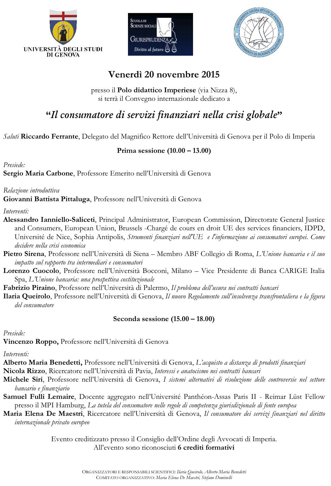 Il consumatore di servizi finanziari nella crisi globale - Imperia, 20 novembre 2015
