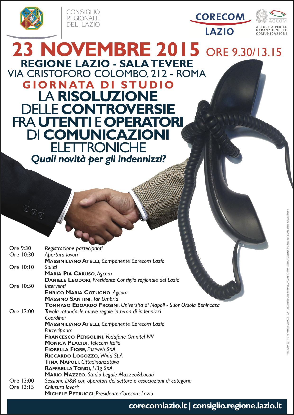 La risoluzione delle controversie fra utenti e operatori di comunicazioni elettroniche, quali novità per gli indennizzi - Roma, 23 novembre 2015