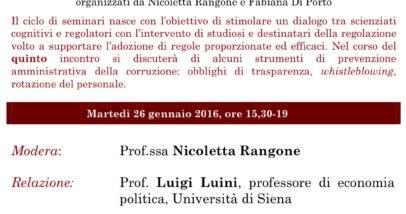 Scienza Cognitive Per La Prevenzione Della Corruzione - Roma, 26 Gennaio 2016