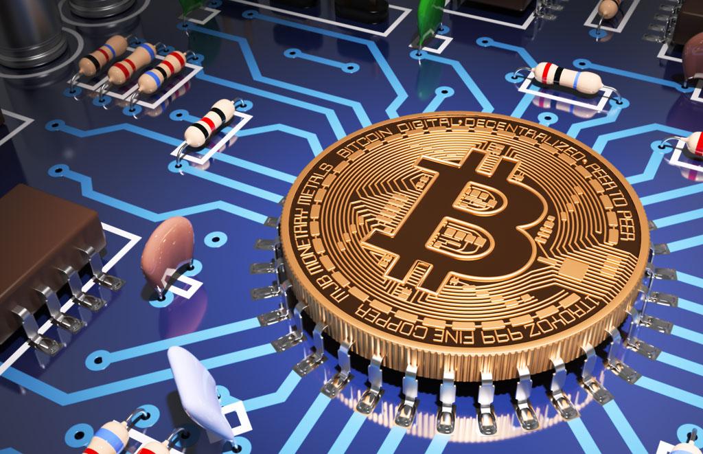 9e90c49bdf Concept Of Bitcoin Like A Computer Processor On Motherboard