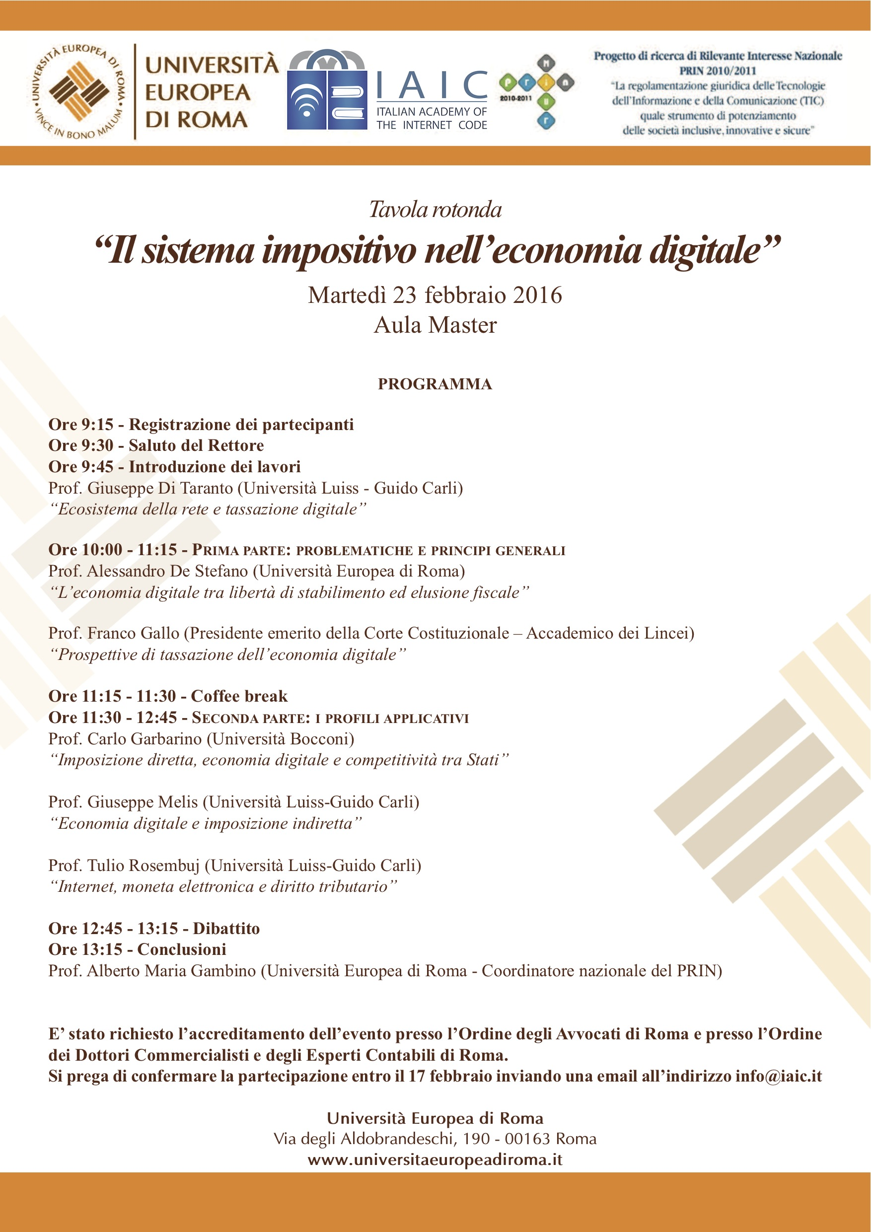 Tavola Rotonda 23 febbraio - Sistema impositivo nell'economia digitale