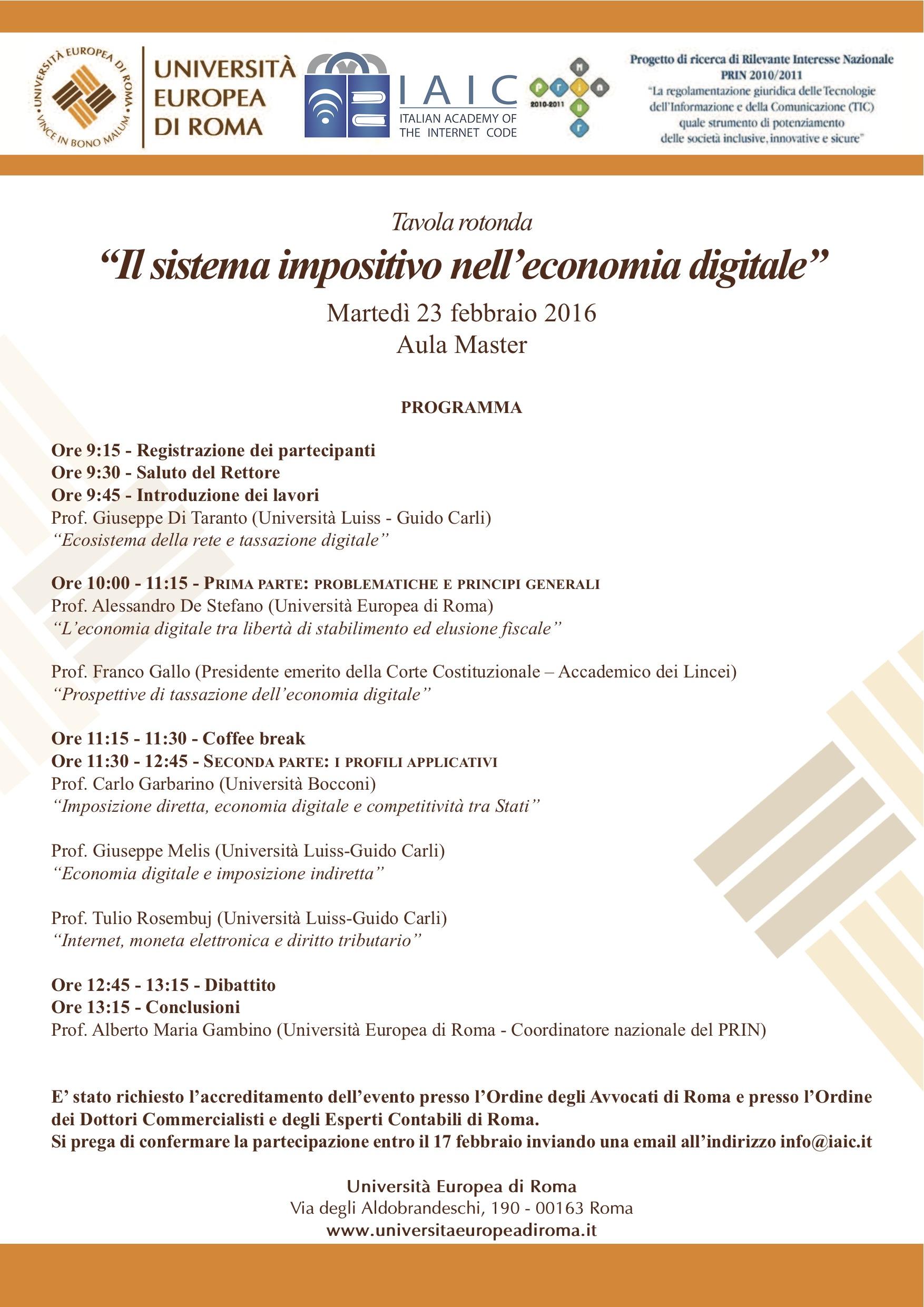 Tavola Rotonda Il sistema impositivo nell'economia digitale