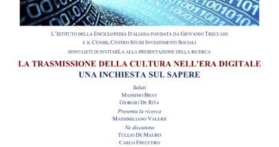 La Trasmissione Della Cultura Nell'era Digitale - 11.2.2016